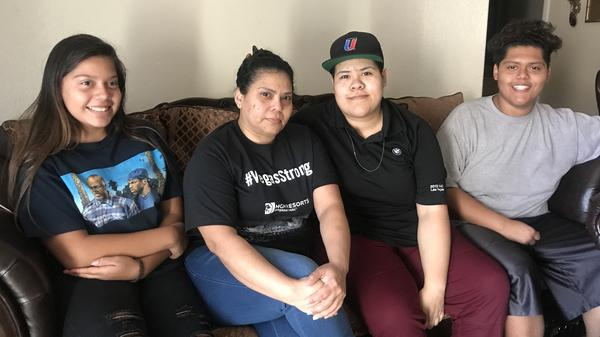 (From left) Nazareth Jiménez-Garcia, 13, her mother Francis Garcia, 41, her sister Frances Arleth Garcia, 20 and her brother Uriel Guevara Garcia, 17.