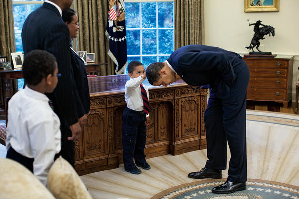 "On May 8, 2009, Obama let a staffer's son feel his hair after the boy wondered aloud if it felt like his. ""Why don't you see for yourself,"" the president replied."