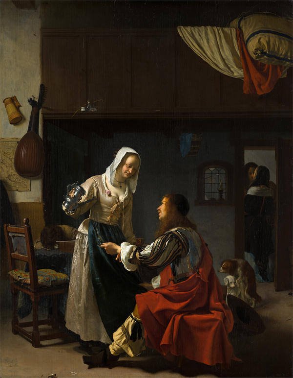 Even the dogs in Frans van Mieris' <em>Brothel Scene</em> (1659) are on message.