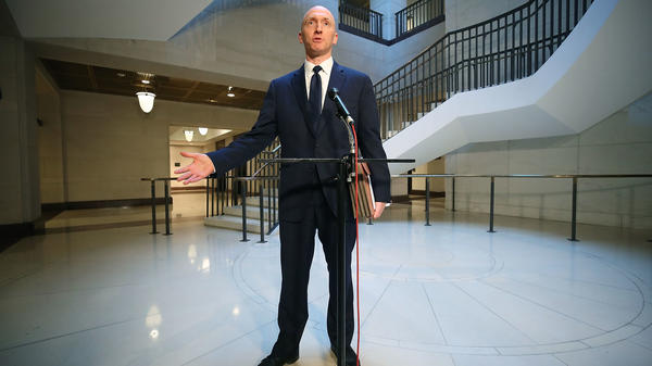 Carter Page, former foreign policy adviser for the Trump campaign, speaks to the media after testifying before the House Intelligence Committee last week in Washington, D.C.