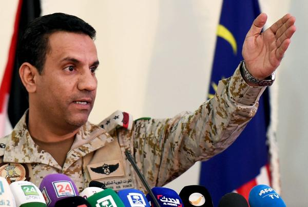 Saudi led coalition spokesman Turki Al-Malki gives a press conference at the King Salman Airbase in Riyadh on Nov. 5, 2017. (Fayez Nureldine/AFP/Getty Images)