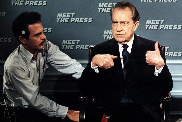 "Former President Richard Nixon prepares for a taping of the ""Meet the Press"" in 1988."