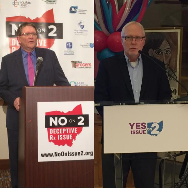 (left to right) No on Issue 2 Campaign Manager Curt Steiner and Yes on Issue 2 spokesperson Dennis Willard