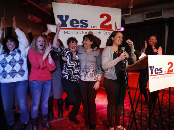 Supporters of Medicaid expansion celebrate their victory on Tuesday in Portland, Maine.