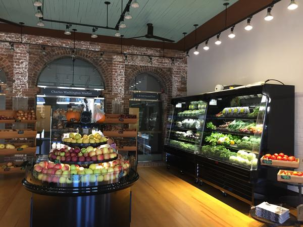 Bushel & Peck; a small, organic, locally-sourced grocery store inside the Charles Washington Hall.