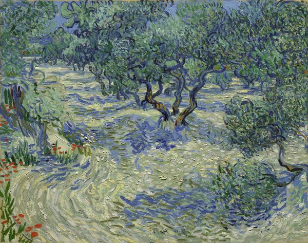 Vincent Van Gogh's <em>Olive Trees,</em> made with oil on canvas in 1889. See the shadow cast by that small tree on the far right side? There's a grasshopper lurking in that shade.