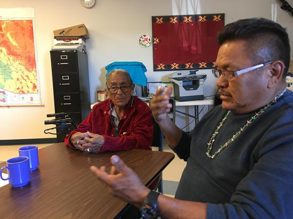 Helen Nez, shown with Blue Gap Chapter President Aaron Yazzie, has lost seven of her 10 children to a disorder called Navajo neuropathy, which is linked to uranium contamination.
