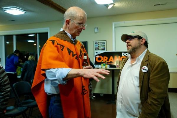 <p>Port of Vancouver commissioner candidate Don Orange (left) at his election night party, Tuesday, Nov. 7, 2017.</p>