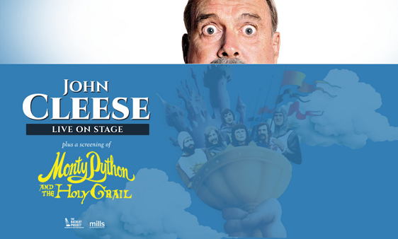 "Comedian John Cleese is on stage for a screening of ""Monty Python and The Holy Grail"" at DPAC in Durham."
