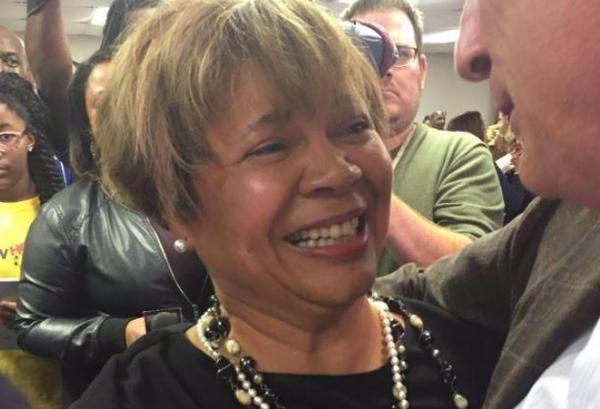 Democrat Vi Lyles celebrates win for mayor of Charlotte.