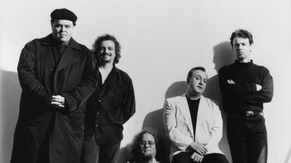 David Thomas, Scott Krauss, Eric Drew Feldman, Jim Jones, and Tony Maimone of Pere Ubu, photographed in May 1991.