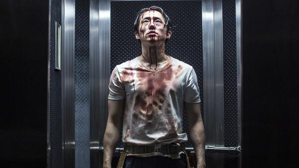 Derek (Steven Yuen) contemplates his severance package in <em>Mayhem</em>.