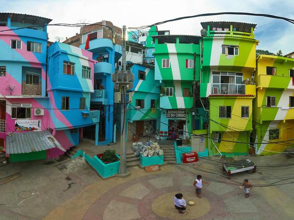 Favela Painting in Santa Marta favela of Rio de Janeiro, Brazil