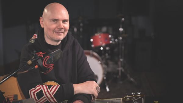 William Patrick Corgan inside the World Cafe Performance Studio.