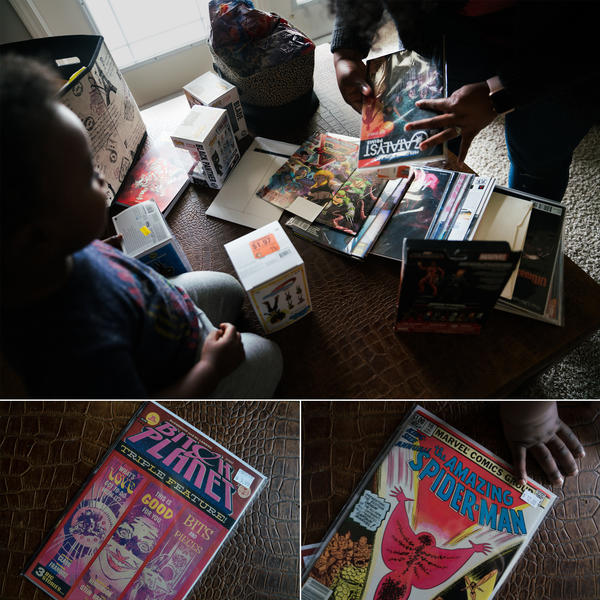 (Top) Williams and her son look at comic books spread out on the coffee table. (Bottom) Two of Williams' favorites, an anthology that highlights writers of color and an <em>Amazing Spider-Man</em> issue where character Monica Rambeau, one of Williams' favorites, made her first appearance.