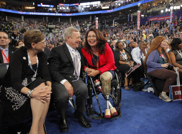Dick Durbin talks to Tammy Duckworth during the Democratic National Convention in Charlotte, N.C., on Tuesday, Sept. 4, 2012.
