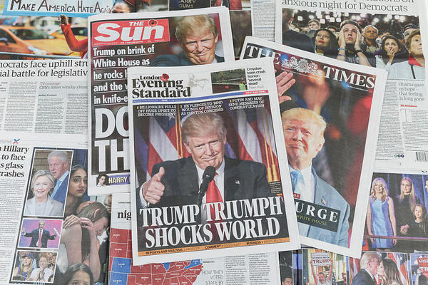U.K. newspapers featured Donald Trump's victory on their front pages on November 9, 2016 .