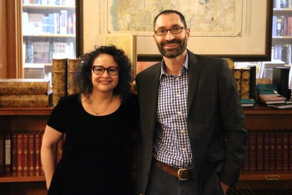 """<p>""""On the Media"""" host and """"The Trouble with Reality"""" author Brooke Gladstone with """"Think Out Loud"""" host Dave Miller at Powell's Books.</p>"""