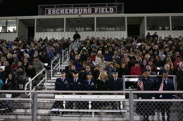A stadium in Floresville, Texas, was packed Wednesday night for a vigil for the victims of the shooting at First Baptist Church in Sutherland Springs.