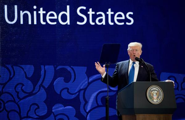 President Trump speaks at the Asia-Pacific Economic Cooperation (APEC) CEO Summit at the Aryana Convention Center, on Friday in Danang, Vietnam.