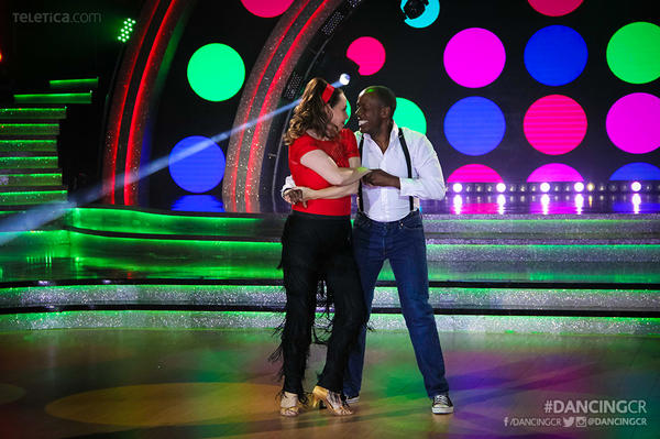 S. Fitzgerald Haney, former U.S. ambassador to Costa Rica, with his wife, Andrea, on that country's <em>Dancing with the Stars. </em>He is donating his stipend to a local cancer institute.