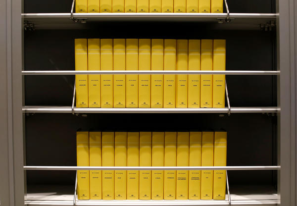 The museum displays the known translations of the Bible. The yellow boxes represent those languages in which no Bible translation is available.