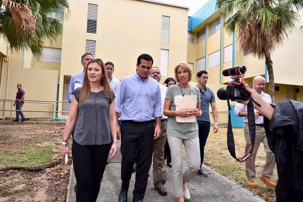 Education Secretary Betsy DeVos (right) toured public schools in Puerto Rico this week with Puerto Rico Secretary of Education Dr. Julia Keleher (left) and Puerto Rico Gov. Ricardo Rosselló (second from left).
