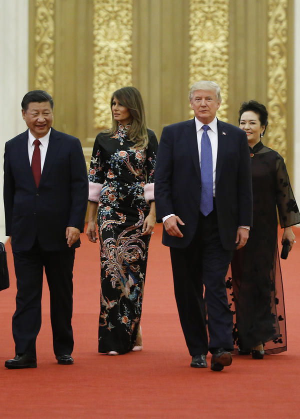 U.S. President Donald Trump and first lady Melania arrive for the state dinner with China's President Xi Jinping and China's first lady Peng Liyuan at the Great Hall of the People on November 9, 2017 in Beijing, China. Trump is on a 10-day trip to Asia.