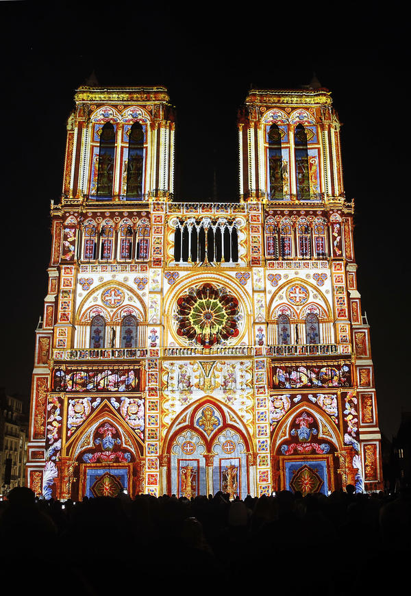A spectacular light show marking the centenary of the World War I (1914-1918) transforms the facade of Paris' Notre Dame cathedral this week.