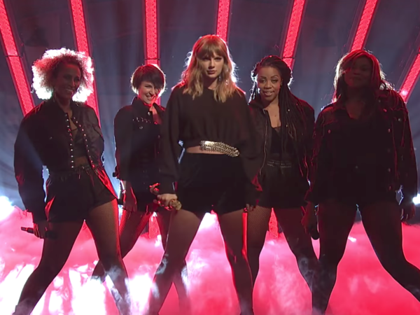 Taylor Swift performing on <em>Saturday Night Live</em>, Nov. 11.