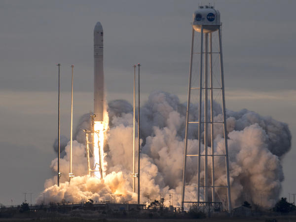 The unmanned Antares rocket launched from Wallops Island, Va., on Sunday, carrying with it a Cygnus capsule containing some 7,400 pounds of supplies for astronauts at the International Space Station.