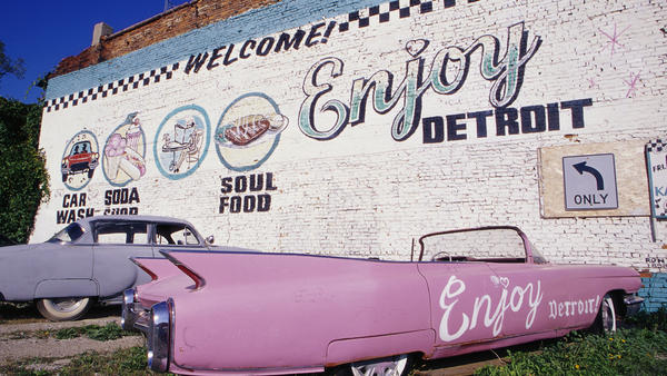 A mural outside of the Car Wash Cafe on Meldrum Street in Detroit, Michigan.