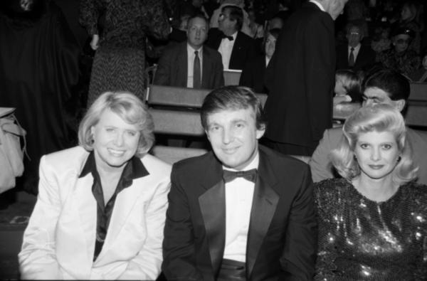 Gossip columnist Liz Smith, Donald Trump and ex-wife Ivana Trump attend <em>1001 Nights </em>together at the Big Apple Circus in November, 1987, in New York.