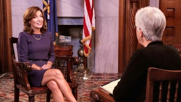 Lt. Gov. Kathy Hochul, left, talking with capitol correspondent Karen DeWitt