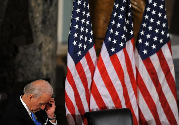 Vice President Biden attends a memorial service in Statuary Hall on Capitol Hill in 2010.