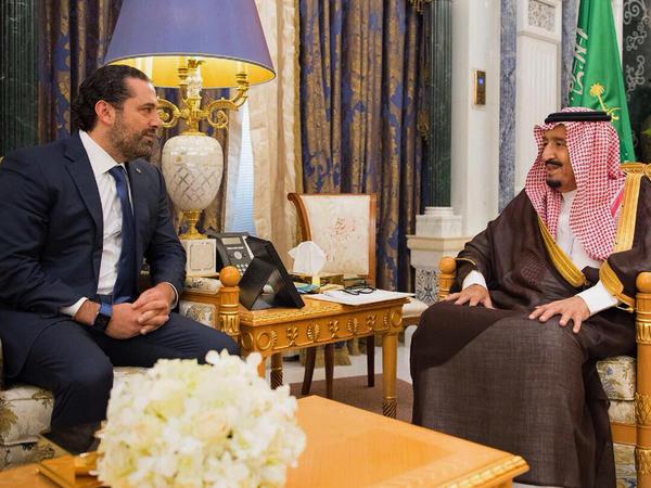 Saudi King Salman meets Nov. 6 in Riyadh with Saad Hariri (left), who resigned two days earlier as Lebanon's prime minister.
