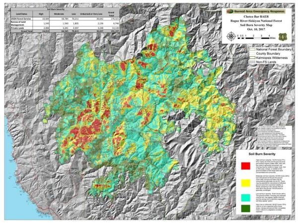 <p>The soil burn severity map produced by the BAER (Burn Area Emergency Response) team that evaluated the Chetco Bar fire. (click to enlarge)</p>