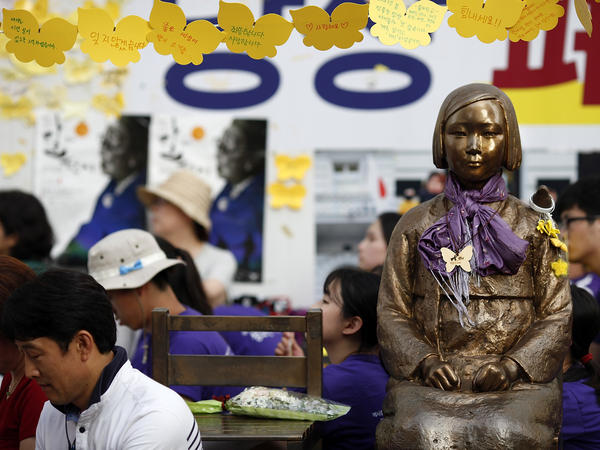 A statue memorializing South Korea's comfort women was placed in front of the Japanese Embassy in Seoul in 2011.