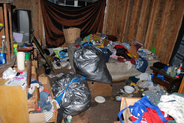 File photo of the inside of the home Cheyene and her siblings were rescued from in January 2015.