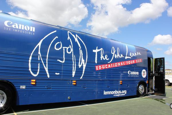 The John Lennon Educational Tour Bus, parked outside Hialeah Gardens High School last week.