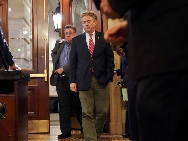 Sen. Rand Paul, R-Ky., arrives on Capitol Hill in Washington on Monday.
