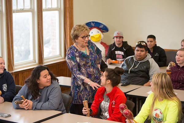 Jerry Smartt teaches a class at Friends University.