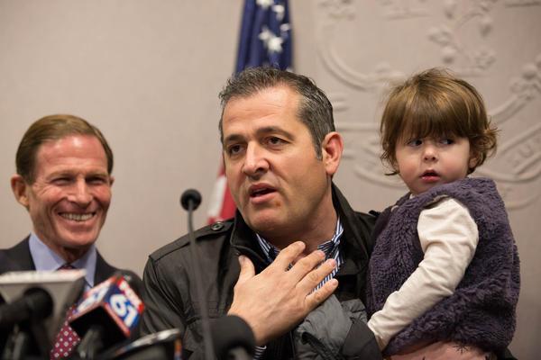 Denada Rondos's husband Viron speaks during a press conference on November 13, 2017.