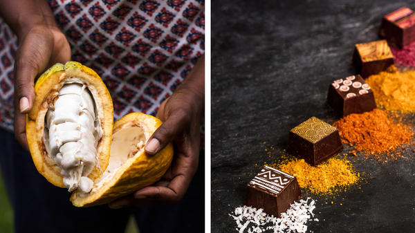 Left, a ripe cacao pod. Right, truffles from Midunu chocolates contain spices and flavors from all over Africa.