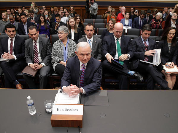 Attorney General Jeff Sessions waits for the beginning of a hearing before the House Judiciary Committee on Tuesday.