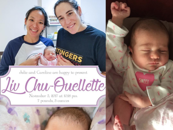 Olympic hockey players Julie Chu and Caroline Ouellette are celebrating the birth of their daughter, Liv. Chu and Ouellette were captains on competing teams.