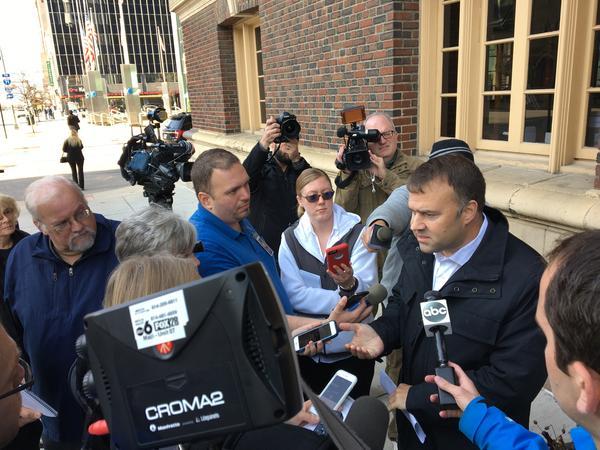 Ohio Democratic Party chair David Pepper talks to reporters before the Mnuchin event.