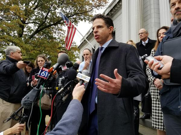 Josh Koskoff, a lawyer representing the families of Sandy Hook shooting victims, appeared at Connecticut Supreme Court Tuesday. Koskoff is asking the Court to reinstate a liability case against the manufacturer of the weapon used in the shooting.