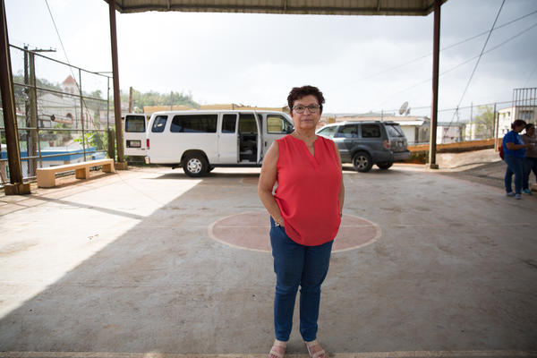 Blanca Ortiz-Torres is a psychologist and a professor at the University of Puerto Rico. She came with a team of doctors, nurses, and psychologists to Maricao to provide medical care to refugees displaced by the hurricane.