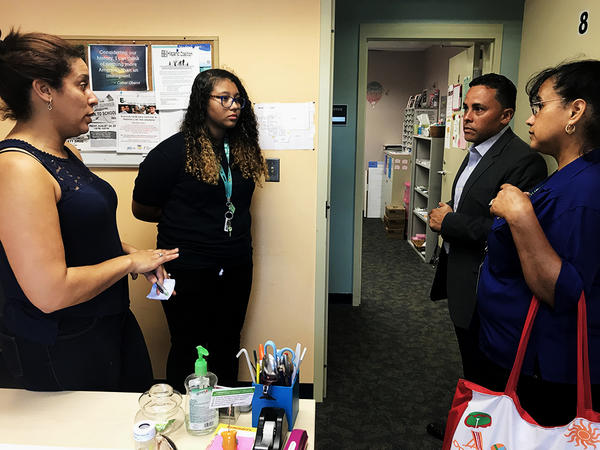 """Zulmarie """"Marie"""" Degro (second from left) came from Puerto Rico to Waterbury on October 2 and two days later, she was enrolled in classes at Crosby."""
